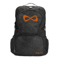 Nfinity Sac a dos noir pailletté logo orange
